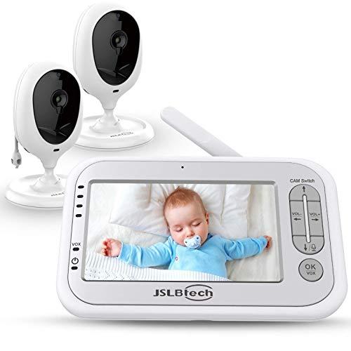 JSLBtech Vigilabebés Inalambrico con Cámara, Monitor de Bebé Visión Nocturna Pantalla LCD de 4.3', visión nocturna, Monitoreo de Temperatura, VOX, Comunicación Bidireccional (2 Cámaras)
