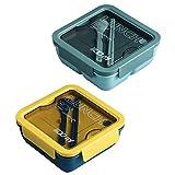 PAEFIU Lunch Bento Box, 1100ml Fiambrera Infantil Compartimentos, Reutilizable,Caja De Bento Con 2 Compartimentos Para Niños Y Adultos, Para La Escuela, El Trabajo, Picnic (azul+verde)