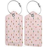 WINCAN Viaggio Luggage Tag,Sfondo a righe rosa pastello con cuori diversi condimenti su bastoncini e coni,Valigie Luggage ID Etichette Per Valigia Bagaglio Zaini Borsa,(2 pezzi)