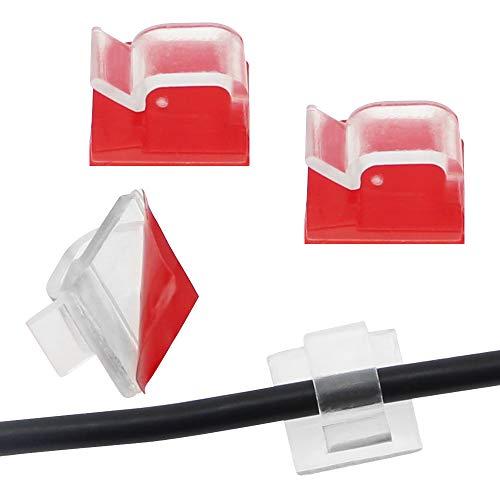 100 Stück Mini Kabelclips für den Außenbereich mit Klebebändern Lichtclips Dekorationsclips Transparente Selbstklebende Drahthalter für Drinnen und Draußen für Weihnachten Deko Lichterketten Ladekabel