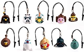 Star Wars Angry Birds Cell Phone Dangler Figure Charm Set of 10 for Apple Iphone & Galaxy