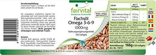 Flachsöl Leinöl Omega-3-6-9, kaltgepresst, reich an Alpha-Linolensäure, 120 Softgels - 2