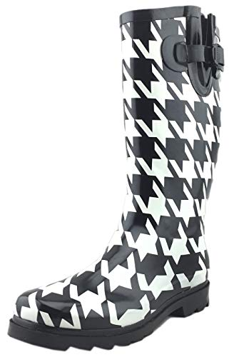 Cambridge Select Women's Pattern Print Colorful Waterproof Welly Rain Boots,9 M US,Black/White Big Houndstooth