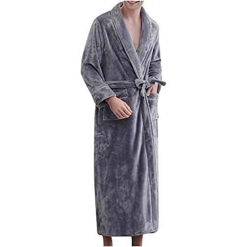 BGUK Par de albornoces de franela para mujer/hombre, camisón de noche grueso albornoces de franela para parejas en otoño e invierno., gris, XL