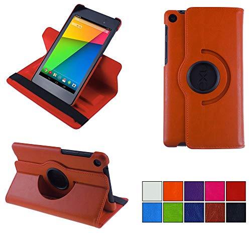 COOVY® 2.0 Cover für Google ASUS Google Nexus 7 (2. Generation Model 2013) Rotation 360° Smart Hülle Tasche Etui Hülle Schutz Ständer Auto Sleep/Wake up   orange