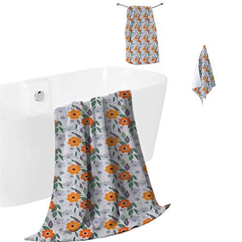 Floral Towel and washcloth Set Pastel Colored Spring Blossom Field Essence Nostalgic Feminine Mother Nature Petals (1 Bath Towel + 1 Hand Towel + 1 Washcloth) Multicolor