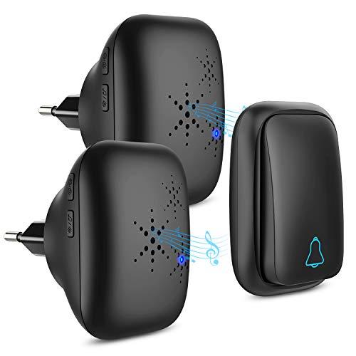 Batterielose Funkklingel Aussen Wasserdicht mit 2 Empfängern IP68 Wasserdicht Türklingel Funk 150m Reichweite 4 Lautstärkestufen 37 Klingeltöne Funkklingel Außenbereich