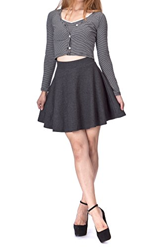 Basic Solid Stretchy Cotton High Waist A-line Flared Skater Mini Skirt (S, Charcoal)