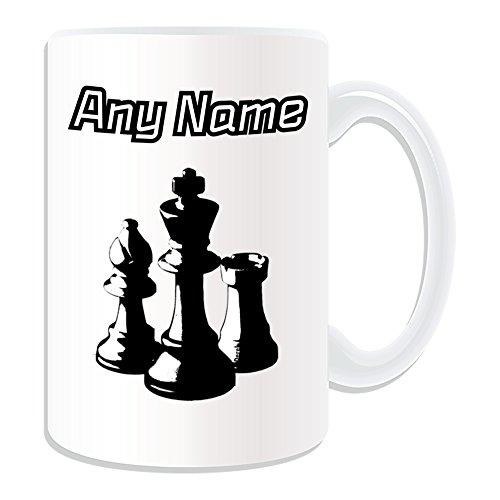 UNIGIFT gepersonaliseerd geschenk - groot schaak zwart wit mok (Sport en Hobby Design Thema, wit) - elke naam/boodschap op uw unieke - bordspel schaakbord koning Rook koningin Pawn Knight Bishop