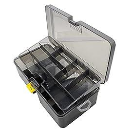 Caisses à outils Boîte à outils double couche en plastique 1pc □ Etanche de pêche à pêche hachure haquets crochet boîte…
