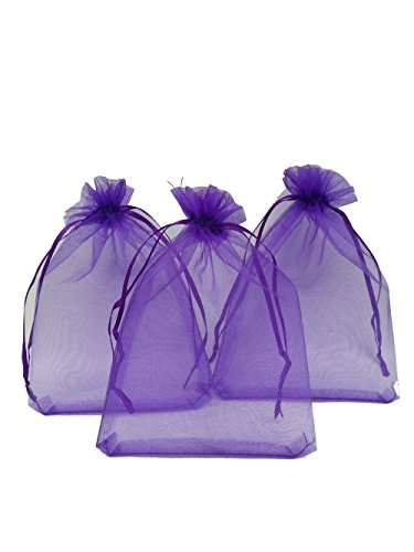 Ankirol 100pcs Sheer Organza Favor Bags 5x7'' for Wedding Bags Samples Display Drawstring Pouches (Purple)