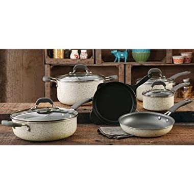 The Pioneer Woman Vintage Speckle 10-piece Non-stick Pre-seasoned Cookware Set, Linen Dishwasher Safe …