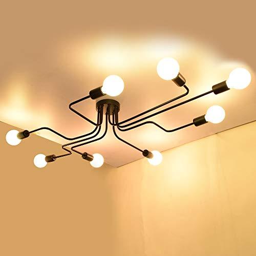 EDISLIVE Plafoniera Vintage a 8 luci Industriale Plafoniere da ufficio Lampade Lampadari Lampade a sospensione e plafoniere per Camera (nero-8 luci)