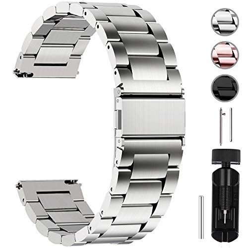 Fullmosa Quick Release Watch Band, Stainless Steel Watch Strap 16mm, 18mm,19mm,20mm, 22mm or 24mm, 22mm Sliver