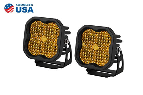 Diode Dynamics Stage Series 3in SAE/DOT Yellow Sport Standard LED Pod (pair), Flood