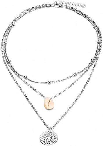 huangxuanchen co.,ltd Necklace Multi-Layer Shell Pendant Necklace for Women Long Chain Silver Round Charm Choker Necklace Wedding Jewelry