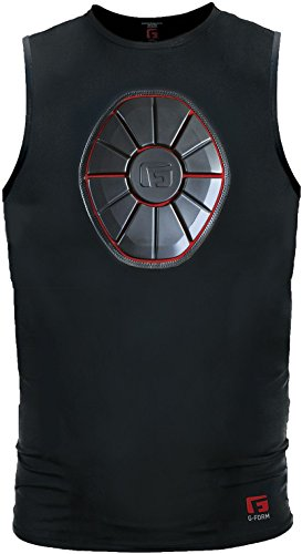 G-Form Baseball Pro Sternum Shirt, Black Red, Adult Large