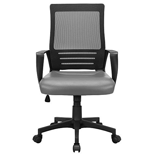 YAHEETECH Mesh Executive Chair with Leather Padded Seat, Ergonomic Adjustable Height Desk Chair with Lumbar Support Grey for Kids, Boys