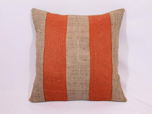 Ol322ay Op maat gemaakte twotone streep verbrand oranje en natuurlijk of maak eigen kleuren rustieke jute kussen coversham