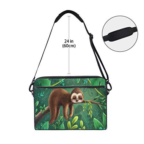 Linomo Laptoptasche mit tropischem Dschungeltier, niedliches Faultier Laptop, Aktentasche, Messenger Sleeve Sleeve Sleeve Sleeve Laptoptasche für Frauen Herren Büro Kinder Schule