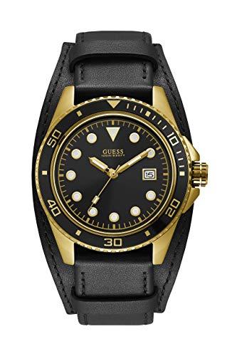 Guess Herren Analog Quarz Uhr mit Leder Armband W1051G3