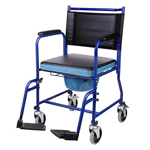 VONOYA Toilettenrollstuhl fahrbarer Toilettenstuhl Rollstuhl mit WC-Eimer Toilettensitz WC Sitz Rollstuhl Nachtstuhl mit Rückenlehneund Fußstützen bis zu 150 kg