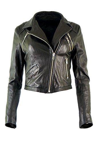 DX Damen Lederjacke, kurz Ramones Rock Lederjacke Elegant schwarz KKLK-0004 (M)