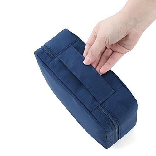 Japace® Beauty Case Sacchetto Cosmetic Borsa da Viaggio Organizzatore di Viaggio con Maniglia Cerniere doppie, grande capacità, Portable per Attività Esterna in Viaggio d'affari 21 * 16 * 8 cm(Blu scuro)
