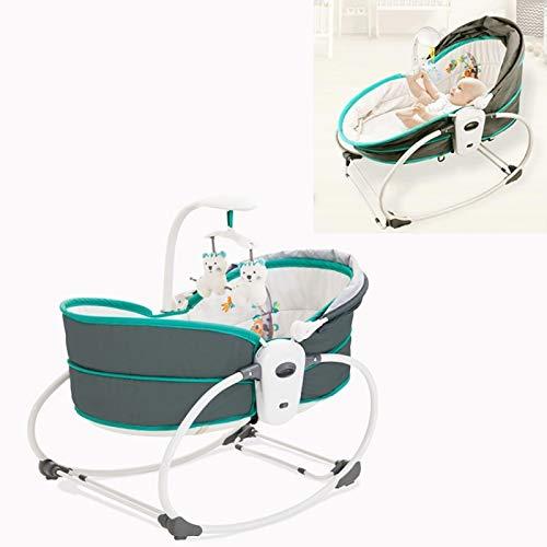 Baby Schaukelstuhl Baby Multifunktionale Wiege Bett Intelligent Fünf-in-eins elektrischer Vibration Tröster Schaukelstuhl (Farbe: Grüngrau) RongGu (Color : Green Gray)