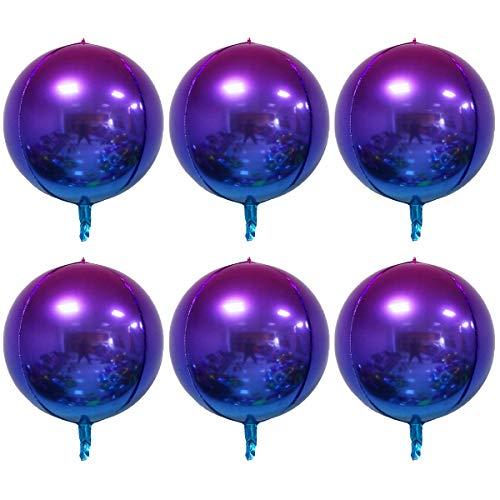 4D Balloons 6Pcs 22 inch Gradient Rainbow Mylar Foil Balloons Round Sphere Foil Balloon, Great for Birthday Wedding Party Balloon Garland,Purple