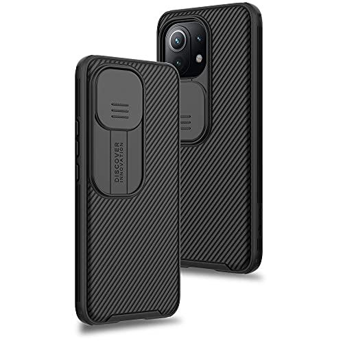 Cover per Xiaomi Mi 11 Lite 5G&4G / 11 Lite 5G NE, Custodia con Scorrevole Protezione Fotocamera Ultra Sottile Leggero Hard PC Back Cover Protettiva Case [Antiurto Antiscivolo AntiGraffio], Nero