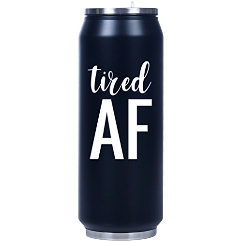 Mad 2 Order Tired AF Insulated Fliptop Matte Can-Shaped Water Bottle Black