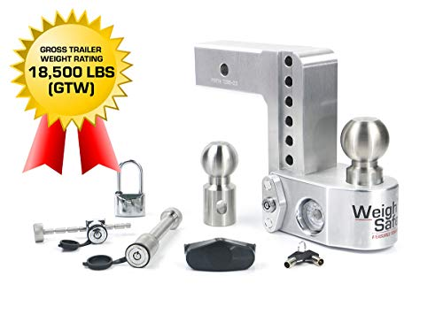 """Weigh Safe WS6-2.5-Set 6"""" Drop Hitch, 2.5"""" Receiver 18,500 LBS GTW - Adjustable Aluminum Trailer Hitch Ball Mount w/Built-in Scale, 2 Stainless Steel Balls, Keyed Alike Key Lock and Receiver Pin"""