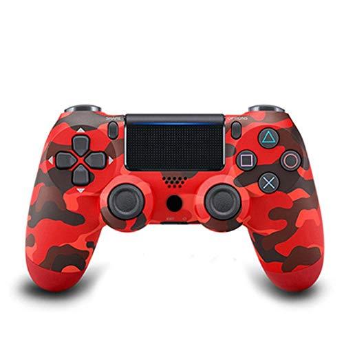 Controlador de Juego inalámbrico, Controlador de Controlador inalámbrico Bluetooth Ps4 4.0, Consola de Juego de Control Joystick de Doble Impacto De pie de ratón de Jedi Supervivencia Camuflaje Rojo