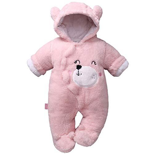 Baby mit Kapuze Strampler Winter Overall Flanell Outfits Jungen Mädchen Pyjama SäUgling Spielanzug Footies Outwear Rosa 3-6 Monate