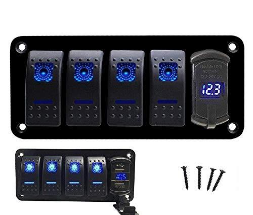 XXYHYQHJD 12V-24V Interruptor de Palanca Panel precableadas 4 Las Bandas de Aluminio Interruptor de balancín con 4.8A USB Cargador de Coche del Barco del voltímetro (Color : Blanco, Size : Gratis)