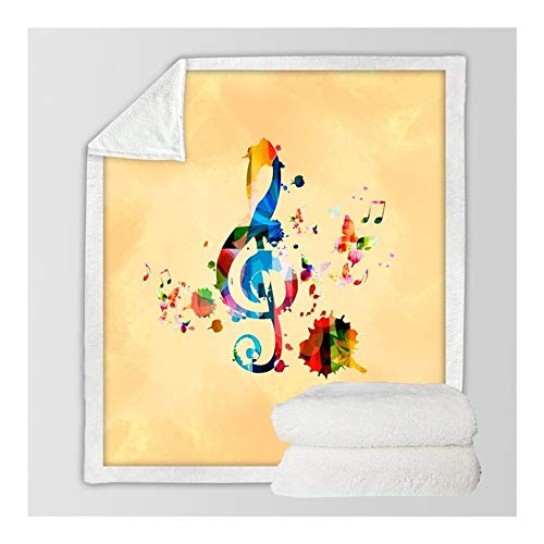 Manta cálida W-L de moda para violín patrón Sherpa 3D impresa felpa colcha agudos Clef música juventud manta (tamaño: 75 cm x 100 cm)