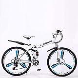 Mnjin Sports de Plein air Vélos pliants de vélo de Montagne, Frein à Disque Double 24 Vitesses, Suspension complète, antidérapant, Cadre en Aluminium léger, Fourche à Suspension, Plusieurs Couleur