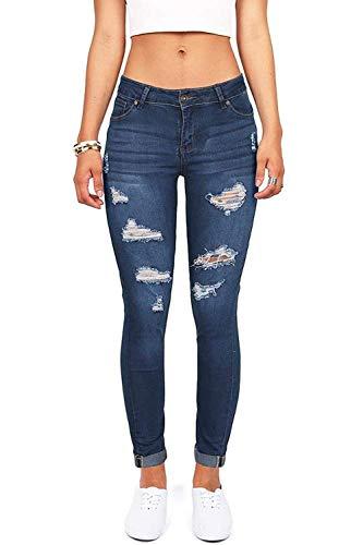 Calça jeans feminina com cintura alta que levanta o bumbum, elástica, rasgada, skinny, Blue 35, 4