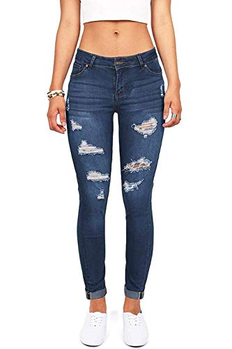 Women's High Waisted Butt Lift Stretch Ripped Skinny Jeans Distressed Denim Pants US 10 Blue 35