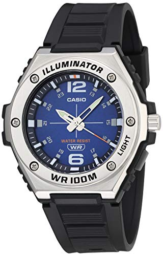 Casio Men's Heavy Duty Analog Stainless Steel Quartz Resin Strap, Black, 42 Casual Watch (Model: MWA-100H-2AVCF)