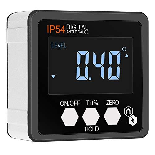 Inclinometro Digital Magnetico Nivel Buscador de Ángulo 4 * 90 °Transportador de Angulo Pantalla LCD con Luz de Fondo Impermeable IP54 Caja de Bisel para Carpintería Construción Decoración Bricolaje