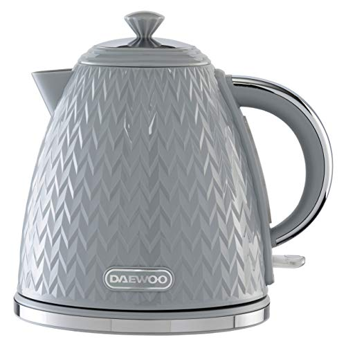 Daewoo sda1820 Argyle 1.7L Plastic Removable & Washable Limescale Filter Lid Opening   Auto/Manual Switch Off Options   220-240V/50-60Hz/3KW   Concealed Heating Element, Grey Kettle