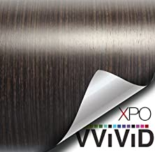 VVIVID Dark Ebony Wood Grain Faux Finish Textured Vinyl Wrap Roll Sheet Film for Home Office Furniture DIY No Mess Easy to Install Air-release Adhesive (3ft x 48 Inch)