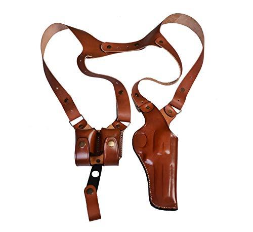 Vertical Leather Shoulder Holster for Colt Python, Colt King Kobra - Double Magazine - Genuine Leather - Brown or Black (Colt Python 6' Barrel, Brown)