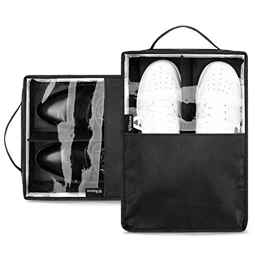 Schuhbeutel Uktunu® Wasserfeste Schuhtasche für Reise oder Sport, Schuhsack zum Transport von Schuhen in Koffer, Handgepäck oder Trolley, 2er Set, Schwarz