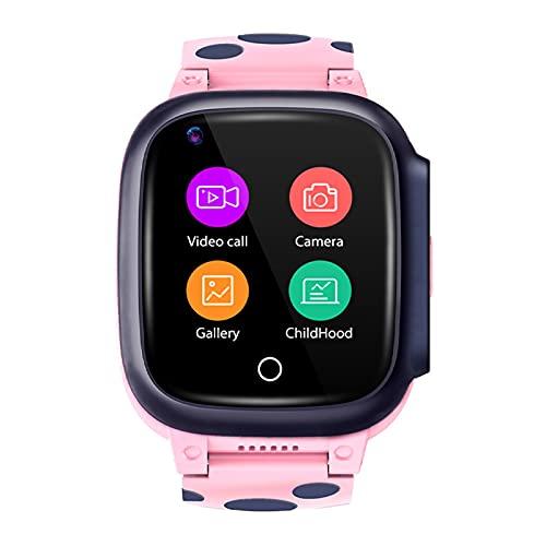 Relojes Inteligentes para Niños con Funciones De Llamada Y SOS, Relojes Inteligentes para Niños con Video Chat Y Sistema De Posicionamiento GPS + LBS + WiFi Pink