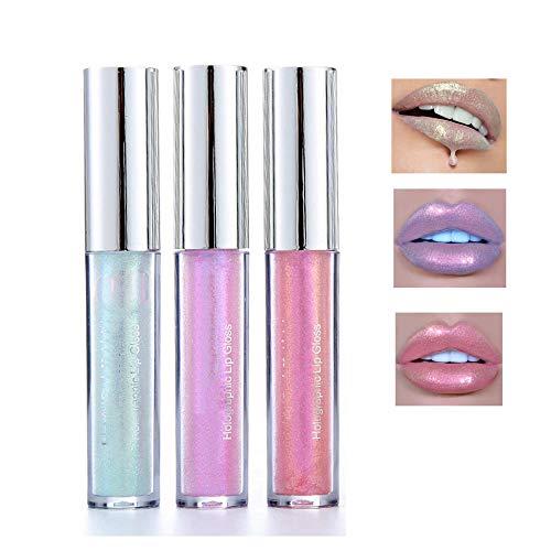 3 Color Glitter Lip Gloss Mermaid Glitter Lipstick Long Lasting Moisturizer Liquid Lipstick Polarized Color for Creating Sexy Lip Eye Beauty Lip Plumper Eye Lip Metallic Cosmetic Makeup
