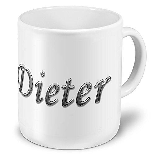 """XXL Riesen-Tasse mit Namen """"Dieter"""" - Jumbotasse mit Design Chrombuchstaben - Namens-Tasse, Kaffeebecher, Becher, Mug"""