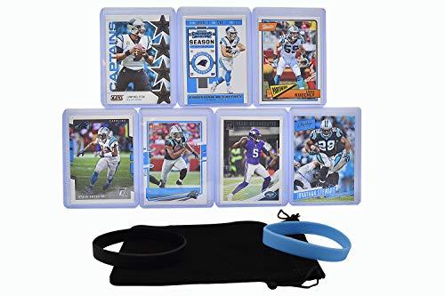 Carolina Panthers Cards: Cam Newton, Teddy Bridgewater, Christian McCaffrey, Jonathan Stewart, Luke Kuechly, Steve Smith, D. J. Moore ASSORTED Football Stars & Legends Trading Card & Wristbands Bundle